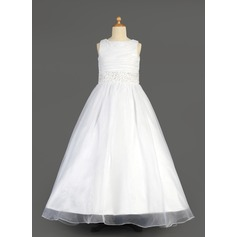A-Line/Princess Floor-length Flower Girl Dress - Organza/Charmeuse Sleeveless Scoop Neck With Beading/Sequins