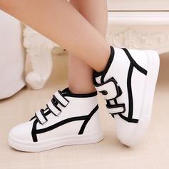 Unisexe Bout fermé similicuir talon plat Chaussures plates Sneakers & Athletic avec Velcro
