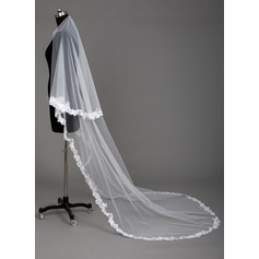 One-tier Lace Applique Edge Cathedral Bridal Veils With Applique (006067015)