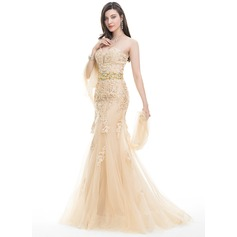 Trumpet/Mermaid Sweetheart Sweep Train Tulle Lace Prom Dress With Beading Sequins (018105553)