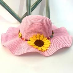 Niño de Precioso Ratán paja con Flores de seda Disquete Sombrero/Sombrero de paja