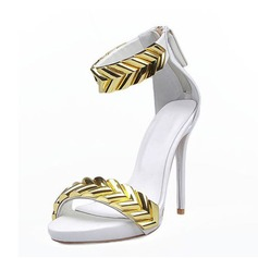 Mulheres Couro verdadeiro Salto agulha Sandálias Peep toe sapatos