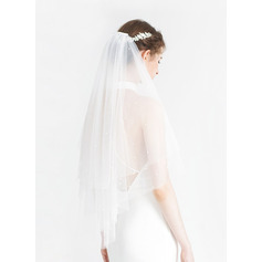 Two-tier Cut Edge Elbow Bridal Veils With Faux Pearl