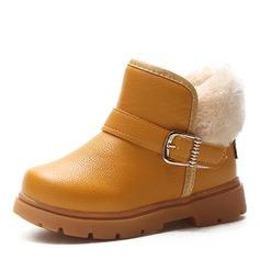 Mädchens Round Toe Geschlossene Zehe Leder Flache Schuhe Stiefel Blumenmädchen Schuhe mit Schnalle