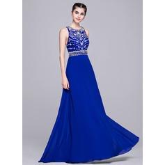 Vestidos princesa/ Formato A Decote redondo Longos De chiffon Vestido de festa com Bordado Lantejoulas