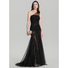 Trumpet/Mermaid One-Shoulder Sweep Train Tulle Evening Dress With Ruffle (017126616)