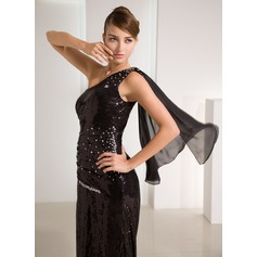 A-Line/Princess One-Shoulder Sweep Train Chiffon Sequined Prom Dress With Beading Split Front