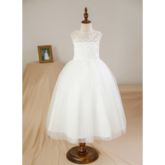 Ball Gown Ankle-length Flower Girl Dress - Satin/Tulle Sleeveless Scoop Neck With Appliques (010094110)