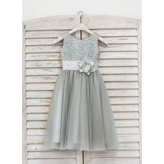 Corte A/Princesa Hasta la tibia Vestidos de Niña Florista - Tul/Con lentejuelas Sin mangas Escote redondo con Flores