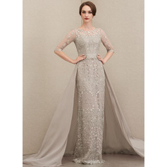 Sheath/Column Scoop Neck Sweep Train Chiffon Lace Mother of the Bride Dress (008204905)