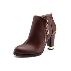 De mujer Cuero Tacón ancho Plataforma Botas al tobillo con Cremallera zapatos