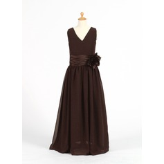 A-Line/Princess V-neck Floor-Length Chiffon Junior Bridesmaid Dress With Ruffle Flower(s)