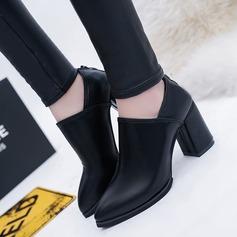 De mujer PU Tacón ancho Salón Botas Botas al tobillo con Cremallera zapatos