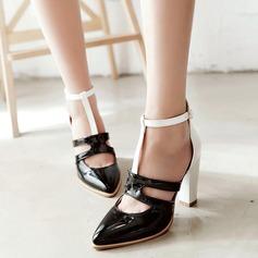 De mujer Cuero Tacón ancho Sandalias Salón Cerrados con Agujereado zapatos (087124465)
