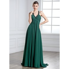 Empire Halter Watteau Train Chiffon Prom Dress With Ruffle Beading