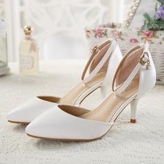 Женщины кожа Высокий тонкий каблук Сандалии На каблуках Закрытый мыс с хрусталь пряжка обувь