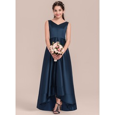 A-Line V-neck Asymmetrical Satin Junior Bridesmaid Dress