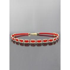 Moda Cuero Cinturón con Diamantes de imitación