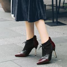 Femmes PU Talon stiletto Escarpins Bout fermé Bottines avec Zip Semelle chaussures