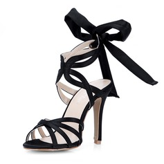 Women's Silk Like Satin Stiletto Heel Sandals Pumps With Bowknot shoes