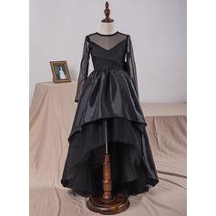 Robe Marquise Longueur genou Robes à Fleurs pour Filles - Taffeta/Tulle/Dentelle Manches longues Col rond avec À ruban(s)