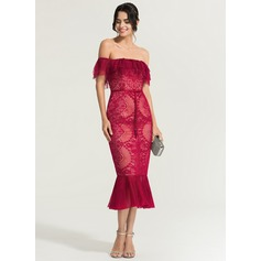 Trumpet/Mermaid Off-the-Shoulder Tea-Length Lace Cocktail Dress (016170866)