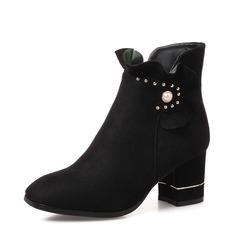 Naisten Mokkanahka Chunky heel Avokkaat Kengät Nilkkurit jossa Pearl kengät