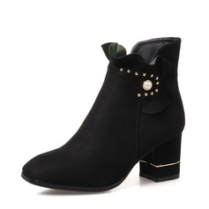 Kvinner Semsket Stor Hæl Pumps Støvler Ankelstøvler med Perle sko