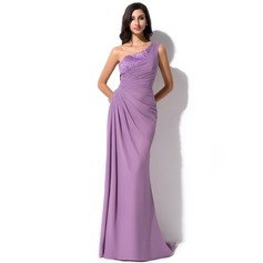 Sheath/Column One-Shoulder Sweep Train Chiffon Evening Dress With Ruffle Beading Sequins