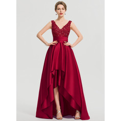 A-Line V-neck Asymmetrical Satin Prom Dresses With Ruffle Sequins