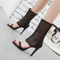 Mulheres Couro Salto agulha Sandálias Bombas Botas Peep toe com Zíper sapatos