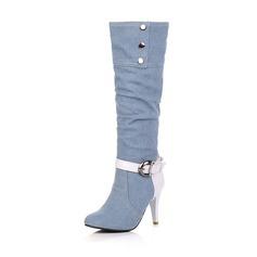 De mujer Tela Tacón stilettos Cerrados Botas longitud media zapatos