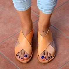 Frauen Kunstleder Flascher Absatz Sandalen Flache Schuhe mit Hohl-out Schuhe