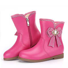 Girl's Mid-Calf Boots Leatherette Flat Heel Flats Boots With Bowknot Zipper