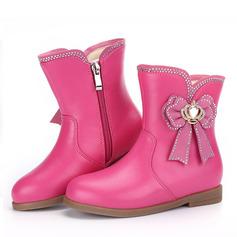 Fille de Bottes mi-mollets similicuir talon plat Chaussures plates Bottes avec Bowknot Zip