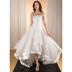 A-Line/Princess Strapless Asymmetrical Taffeta Organza Wedding Dress With Flower(s) Cascading Ruffles