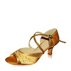 Женщины Атлас кожа На каблуках Сандалии Латино с горный хрусталь Обувь для танцев