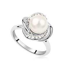 Einzigartige Perle/Platin überzogen mit Strass Damen Ringe