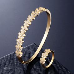 Ladies' Flower Shaped Copper/Zircon Jewelry Sets