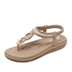Femmes Similicuir Talon plat Sandales avec Paillette Élastique chaussures