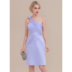 Sheath/Column One-Shoulder Knee-Length Satin Homecoming Dress With Ruffle Bow(s)