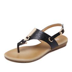 Femmes Similicuir Talon plat Sandales avec Paillette Boucle chaussures