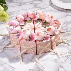 Dolce Amore/Creativo/Bella/Elegante Cubi Carta della carta Scatole di Favore con Fiori/Nastri