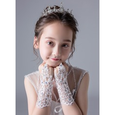 Lace With Lace/Crystal Wrist Length Glove