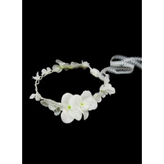 Seda artificiais com Falso pérola flor Headband