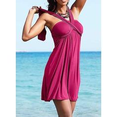 Vakkert Ensfarget Strand kjole