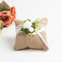 Elegant/Rustic Linen Ring Pillow With Flowers