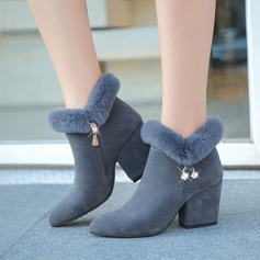 Women's Fabric Chunky Heel Ankle Boots With Buckle shoes