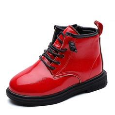 Unisexe bout rond Bout fermé Bottines Martin bottes similicuir talon plat Chaussures plates Bottes Chaussures de fille de fleur avec Dentelle