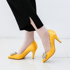Kvinner silke som sateng Stiletto Hæl Pumps Lukket Tå med Rhinestone sko